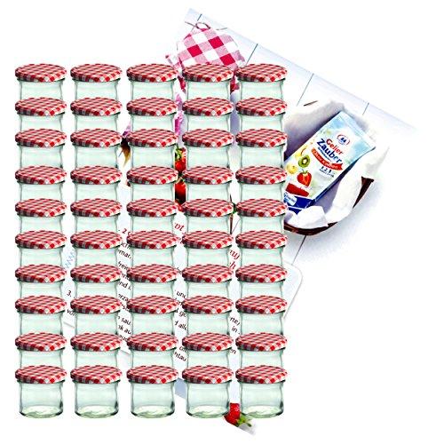 50 chute Verres 125 Ml pots de confiture confiture conserve rouge rezeptheft