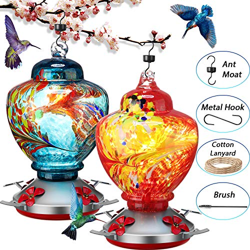 2 Sets Hummingbird Feeder for Outdoors with Hand Blown Glass, Hand Bird Feeder with Perch, Blue Paintings and Flower, 38 Ounces Including Ant Moat, Metal Hook, Hanging Wires, Brush -  Boao, Boao-Hand Blown Glass -22