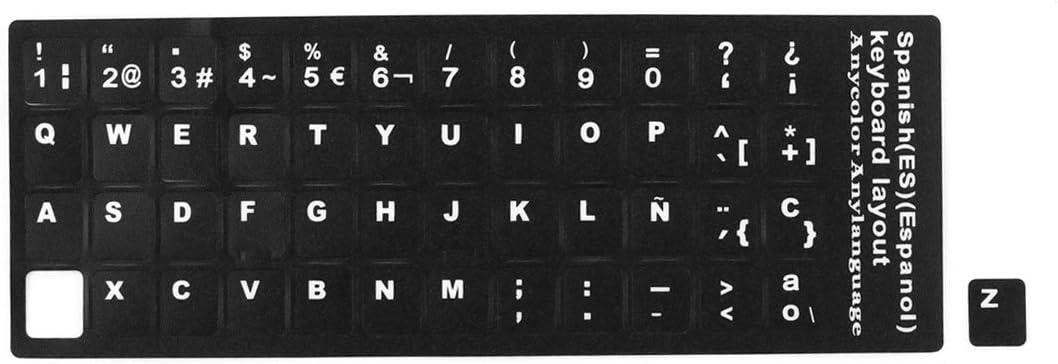 sourcing map Computadora portátil de Escritorio Teclado español Protector de calcomanías Letras Grandes Etiqueta Negra