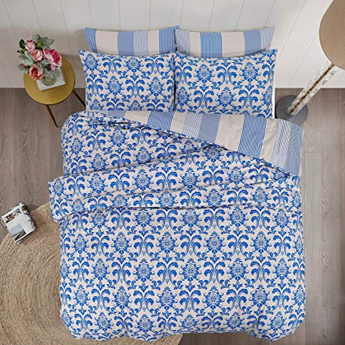 Linen Zone - 100% Cotton Reversible Printed Duvet Cover Set, Double - Istambul Royal Blue