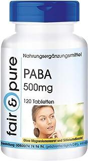 PABA 500mg - Ácido para-aminobenzoico - Vitamina B10 vegana - Alta pureza - 120 Comprimidos