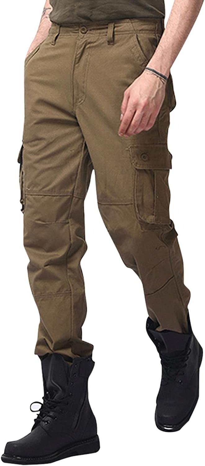 Huangse Men's Relaxed Fit Stretch Cargo Pant Casual Jogger Zip UP Athletic Track Pants Trousers with Pockets