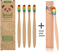 Genkent Natural Bamboo Toothbrush Made with Rainbow Nylon Infused Bristles in Recycled Biodegradable Packaging (4+1 Counts)