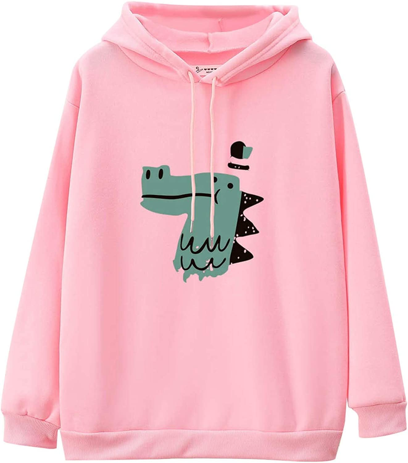 Pullover for Womens Solid Color Long Hoodie NEW before selling Sleeve Dinos Cartoon Fort Worth Mall