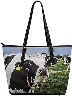 InterestPrint Top Handle Satchel HandBags Shoulder Bags Tote Bags Purse Holstein Dairy Cow