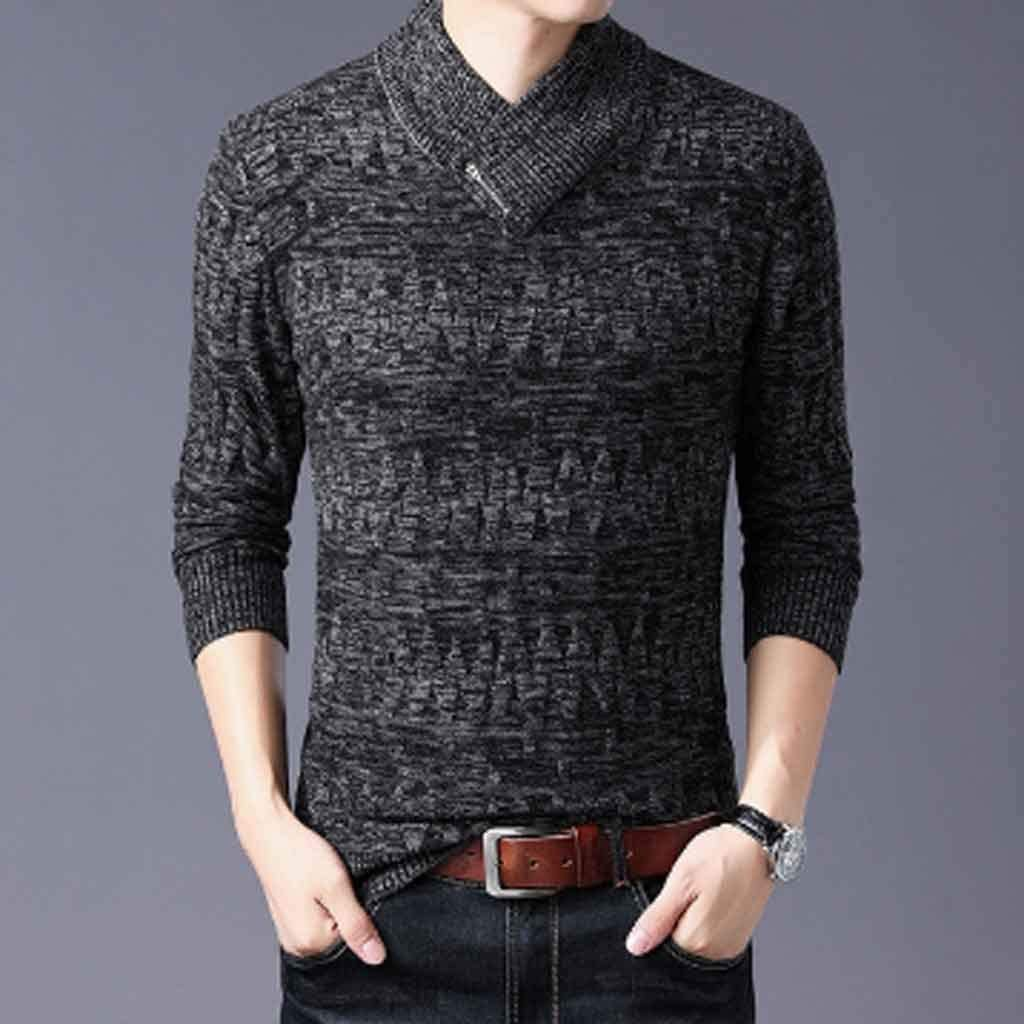 ZYING Sweaters Man Pullovers Slim Fit Jumpers Knitwear Woolen Autumn Korean Style Casual Mens Clothes (Color : Style 2)