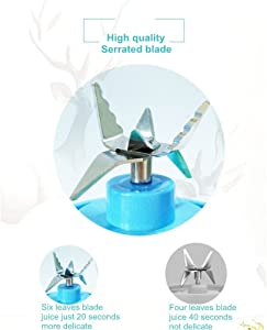 Portable Juicer Blender, Household Fruit Mixer - Six Blades in 3D, 380ml Fruit Mixing Machine with USB Charger Cable for Superb Mixing, USB Juicer Cup(Blue)
