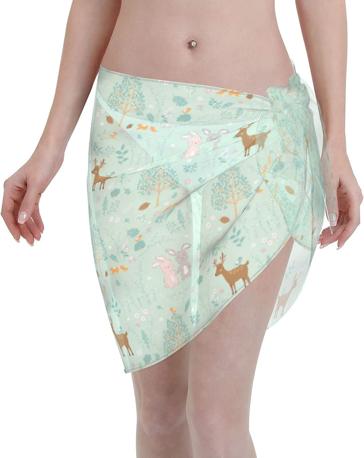 Swimsuit Cover Ups for Women Forest On Springtime with Cute Animals Beach Wrap Sheer Short Skirt Bikini Chiffon Scarf for Swimwear