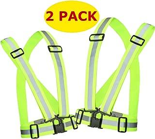 Reflective Running Vest Gear 2 Pack | Hi Vis Made of Silver Reflector Tape | Adjustable, Lightweight, Elastic Reflective Vest | Safety Vests for Women, Men & Jogging, Cycling, Dog-Walking, Car Safety