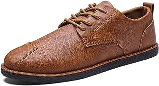Baifeng - Zapatos de piel sintética para hombre, cómodos, cómodos, de moda, planos, con cordones