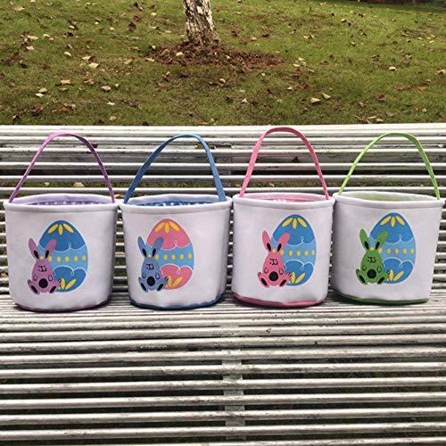 Dantazz Ostertasche Osterhasen Tasche Osterkorb Einkaufskorb Feiertags Kaninchen Hase gedruckt tragen Leinwand Tasche Geschenk Eier Candy Segeltuch Tragetasche (Grün)