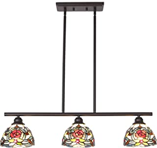 VINLUZ Chandeliers Lighting Tiffany Style 3-Light Art Victorian Pendant Lights Rustic Vintage Ceiling Light Fixtures Dining Room Bedroom Hanging Lights 7.5inch Glass Shaded