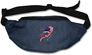 Waist Purse Fishing American Flag Unisex Outdoor Sports Pouch Fitness Runners Waist Bags