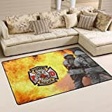 Donnapink Fire Department Logo Fire Rescue Firefighter 31'x20' Non-Slip Doormat Living Room Bathroom Rug Home Kitchen Floor Mat