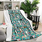 Australian Shepherd Dog Floral Throw Blanket Easy Care Flannel Blanket for Couch or Bed 59'X79'