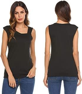 Dealwell Womens Summer Sleeveless Shirts One Shoulder Causal Knit Tank Tops