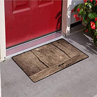 RelaxBear Primitive Country Welcome Door mat Love Themed Romantic Cute Heart Shape on Rustic Rough Wooden Slats Image Print Door mat is odorless and Durable W23.6 x L35.4 Inch Umber