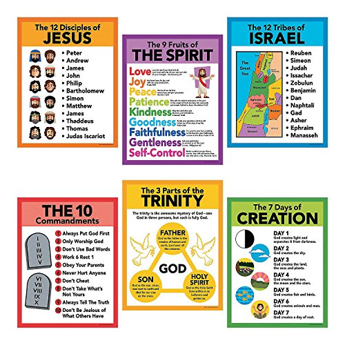 Fun Express Religious Pledge Poster Set - 6 Pieces - Educational and Learning Activities for Kids