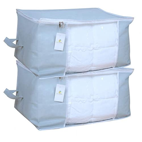 Homestrap Non-Woven Fabric Underbed Storage Bags (Set of 2)(Grey)