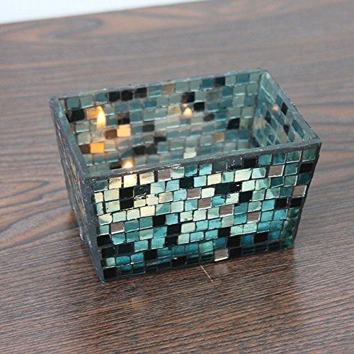 Bluelover handgemaakte vierkante mozaïek glazen kaars houder kandelaar bloempot huwelijksdecoratie