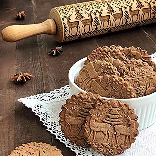 Lilittrade Rouleau à pâtisserie décoratif en bois avec motifs en 3D parfait pour fondant, pizza, gâteaux, pâte à pâtes alimentaires et pâte sablée