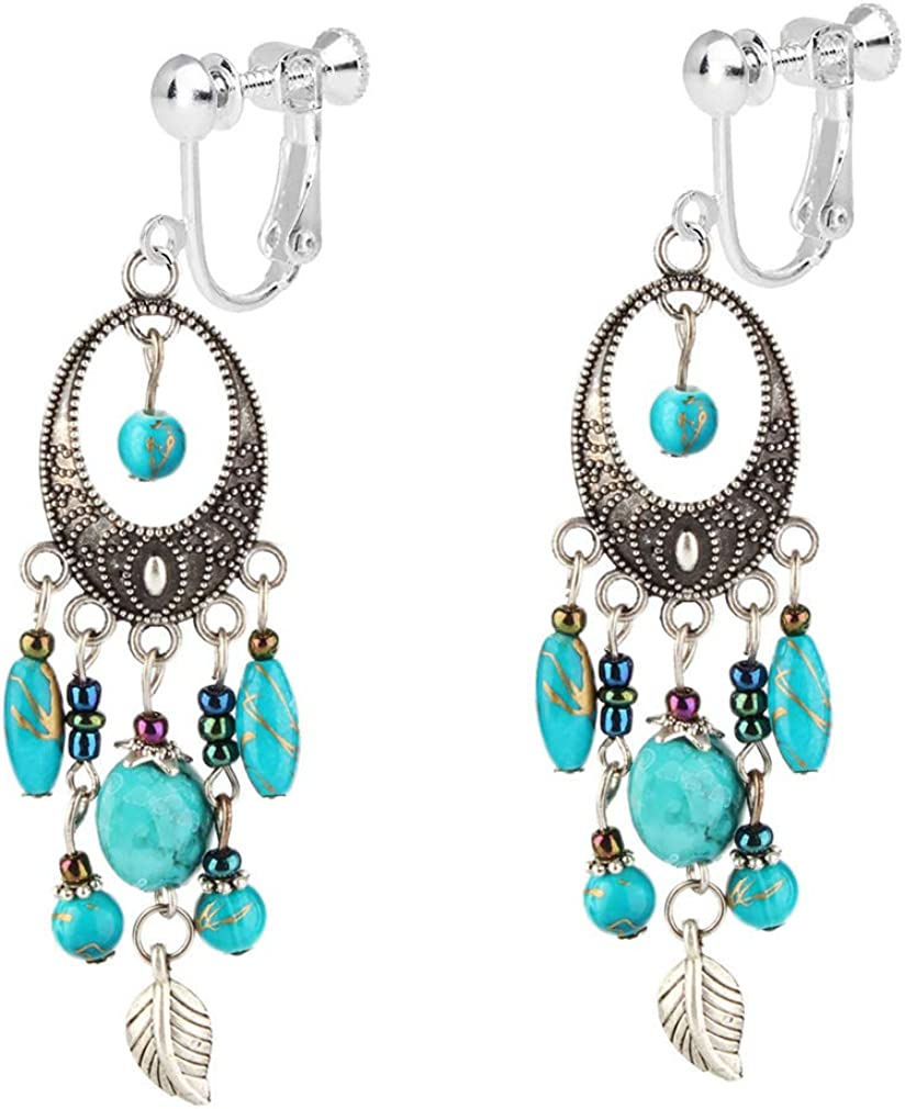 Bead Fringe Earrings for Women Bbohemian Clip on Earrings for Non Pierced Colorful Turquoise Seed Beaded Tassel Leaf Drop