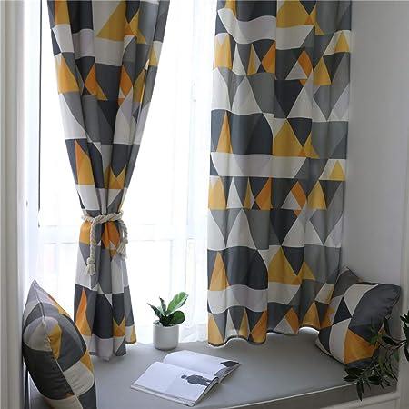 aymayo rideaux occultants et occultants h 225 xl 140 cm rideau imprime geometrique jaune 240 x 132 cm