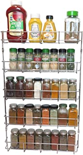 Evelots Spice Rack-5 Shelves-Wall/Door Mount-No Rust-Easy Clean-Up to 40 Bottles