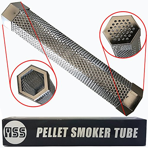 Pellet Smoker Tube 12'' Perforated Stainless Steel BBQ Smoke Generator To Add Smoke Flavor to All Grilled Foods Easily and Safely with Free 48 Grilling Recipes Ebook