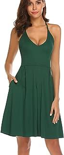 Women's Sexy V Neck Spaghetti Strap Summer Dress Sleeveless Backless Party Dresses with Pocket