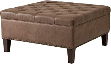 Madison Park Lindsey Square Tufted Large Faux Leather, All Foam, Wood Frame Brown Cocktail Ottoman Modern Design Coffee Table for Living Room,