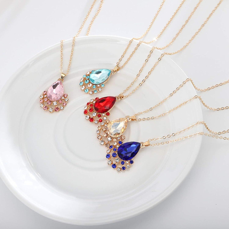 Women's Fashion Jewelry Sets, Luxury Women Faux Gem Water Drop Pendant Necklace Earrings Party Jewelry Set