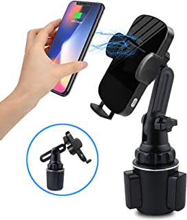 Car Wireless Charger Cup Holder, 10W Wireless Car Charger Mount, Automatic Smart Sensor Clamping Wireless Qi Phone Charger Car Mount for iPhone, Samsung, Moto, Huawei, Nokia, LG, Smartphones