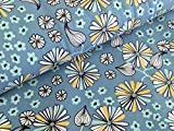 Baumwolljersey Florales Zauber Hellblau Stoff Blumen