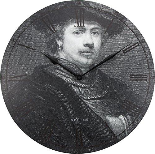 unek goederen Nextime Rembrandt wandklok, rond, hout, zwart