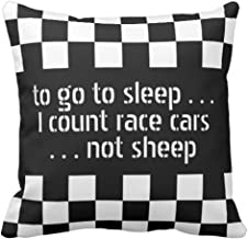 Emvency Throw Pillow Cover Car Cool Black White Formula Checkered Flags Pattern Motorsport Decorative Pillow Case Home Decor Square 16 x 16 inch Pillowcase