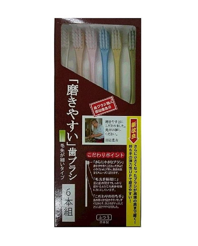 アーク取る該当する歯ブラシ職人 田辺重吉考案 磨きやすい歯ブラシ 先細 6本組