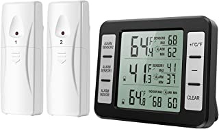 KeeKit Refrigerator Thermometer, Digital Freezer Thermometer with 2 Wireless Sensors, Indoor Outdoor Fridge Temperature Monitor with Audible Alarm, Min/Max Record, ℃/℉ Switchable - Black