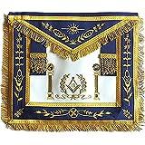 Navy Blue Apron Master Mason Square G & Pillars Freemasons Gold Fringe