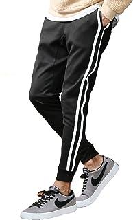 JIGGYS SHOP ジョガーパンツ メンズ スウェットパンツ ジャージ スリム 細身 無地 サイドライン ストレッチ ポンチ素材