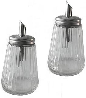 9 oz Glass Sugar Shaker Pourer Restaurant And Diner Style Bottle (Pack of 2)