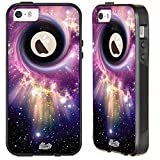 Unnito iPhone 5 Case – Hybrid Commuter Case | Slim Cover with Hard Shell Design and Soft Inner Layer Compatible with iPhone 5S / SE Black Case - (Nebula Black Hole)