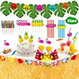 Decoraciones para fiestas hawaianas, 83 piezas de decoración para fiestas tropicales, un juego de faldas para la mesa de Luau Grass y ricos accesorios para la barbacoa y la decoración de la fiesta