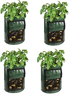 SUCOHANS 4 Pack 10 Gallon Portable Potato Growing Bag Planter Bags Planting Pouch with Handles Access Flap for Carrot Onion Vegetables (10 Gallon)