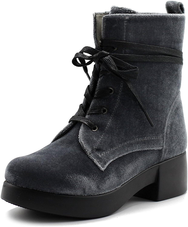 Ollio Women's shoes Velvet Lace Up Ankle Bootie Combat Boots TWB0109
