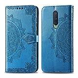 Bear Village Hülle für OnePlus 8, PU Lederhülle Handyhülle für OnePlus 8, Brieftasche Kratzfestes Magnet Handytasche mit Kartenfach, Blau