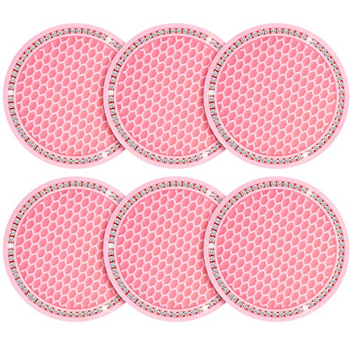 6 Pieces Bling Car Coasters Silicone Car Cup Holders Rhinestone Crystal Car Cup Coaster Insert Mats Round Auto Pink Cup Pads Cup Holders Car Drink Coasters for Vehicle Auto Car Truck Bus Decoration