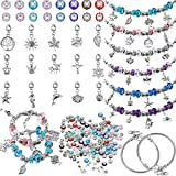 136 Pieces DIY Bracelet Making Kits Include 7 Inch Silver Snake Bracelet Chain, Mix-Color Large Hole Glass Beads, Rhinestone Spacers Beads Silver Ball, Pendant Charms for Christmas Crafts