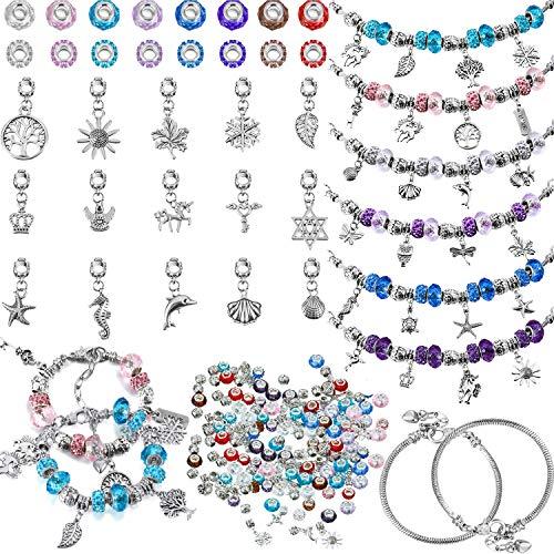 136 DIY Kits de Fabrication de Bracelets, 7 Pouces Chaîne de Bracelet Serpent en Argent, Perles de Verre à Trous Larges Colorées, Perles d'Espacement en Strass Boule d'Argent pour Noël