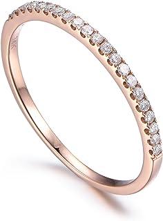 14K Rose Gold Diamond Wedding Ring,Half Eternity,Stackable Ring,Micro Pave Diamond,Thin Matching Band